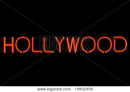 Red neon sign of the word 'Hollywood' on a black background.