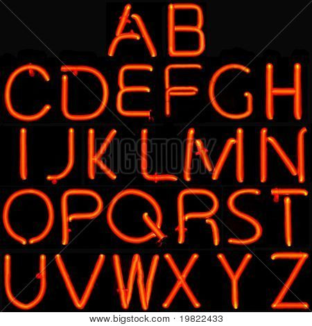 26 red capital letters of the Latin alphabet.