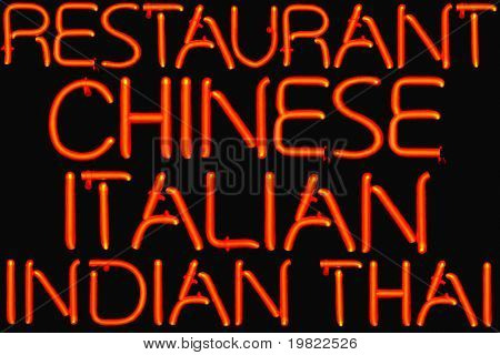 Red neon restaurant sign offering multiple cuisines.