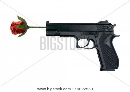 Abstract of a handgun with a red rose in the end of the barrel.