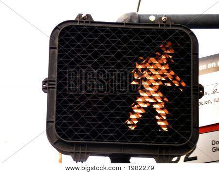 Close Up Shot Of Pedestrian Walk Traffic Signal