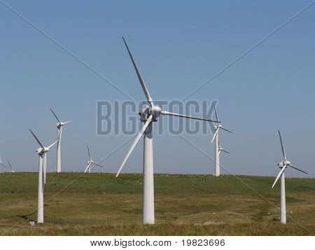 Wind turbines in Welsh hills near Llandinam