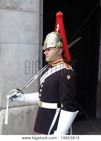 Royal horse guard standing to attention in London
