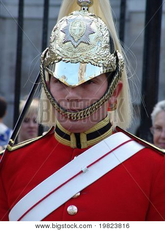 Horse guard soldier guarding palace gateway in London