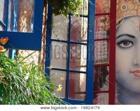Hindu goddess behind windows in London