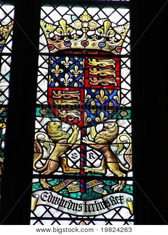 British royal coat of arms in stained glass window