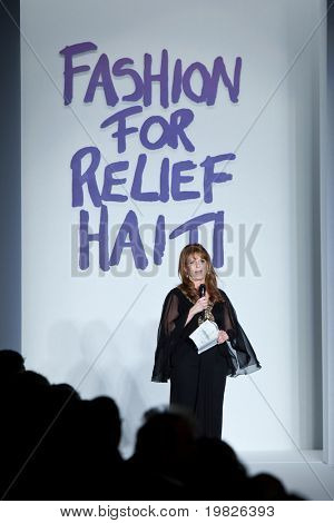 NEW YORK - FEBRUARY 11: Spokesperson Sarah Margaret Ferguson Duchess of York  spoke  at the  Fashion for relief-Haiti during Mercedes-Benz Fashion Week at Bryant Park on February 12, 2010 in New York.