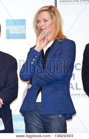 NEW YORK - APRIL 21 : Actress Uma Thurman at Tribeca Film Festival opening April 21, 2009 in New York. The festival was founded in 2002 by Jane Rosenthal and Robert De Niro