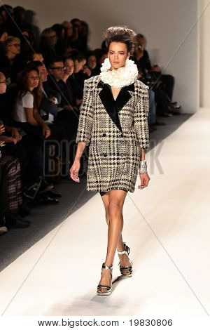 NEW YORK - FEBRUARY 11: A model walks the runway for the Ruffian collections Mercedes-Benz Fashion Week at Lincoln Centre on February 11, 2010 in New York.