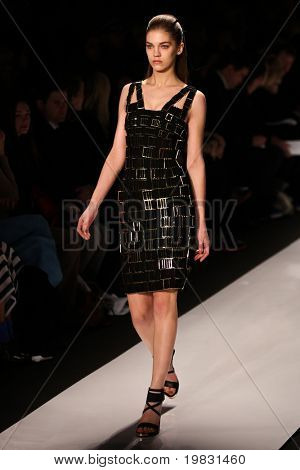 NEW YORK - FEBRUARY 15: Model walks the runway for Herve Leger by Max Azria  collections Mercedes-Benz Fashion Week at Lincoln Centre on February 15, 2011 in New York.