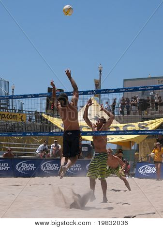 HUNTINGTON BEACH, CA. - MAY 23: AVP Huntington Beach Open south of the pier on the weekend May 23, 2009 in Huntington Beach, California.