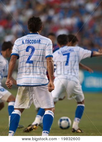 CARSON, CA. - JULY 3: Concacaf Gold Cup soccer match, Costa Rica vs. El Salvador at the Home Depot center in Carson. Alexander Escobar looks up field as the ball is in play on July 3, 2009.