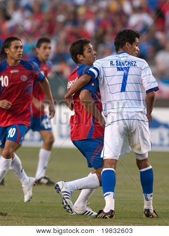 CARSON, CA. - JULY 3: Concacaf Gold Cup soccer match, Costa Rica vs. El Salvador at the Home Depot center in Carson. Ramon Sanchez and Celso Borges fighting for position on July 3, 2009.