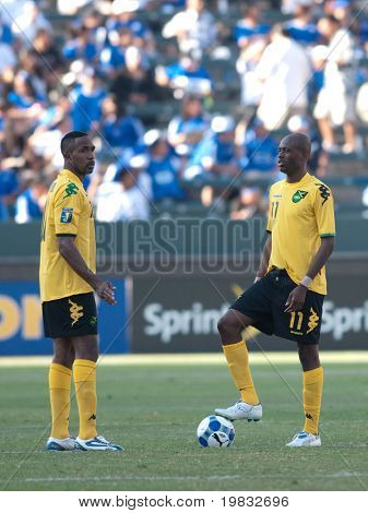 CARSON, CA. - JULY 3: Concacaf Gold Cup soccer match, Canada vs. Jamaica at the Home Depot Center. Luton Shelton and Ricardo Fuller getting ready for the start of the second half, July 3, 2009.