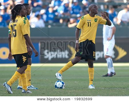 CARSON, CA. - JULY 3: Concacaf Gold Cup soccer match, Canada vs. Jamaica at the Home Depot Center. Luton Shelton, Ricardo Gardner & Ricardo Fuller getting ready for the second half. July 3, 2009.