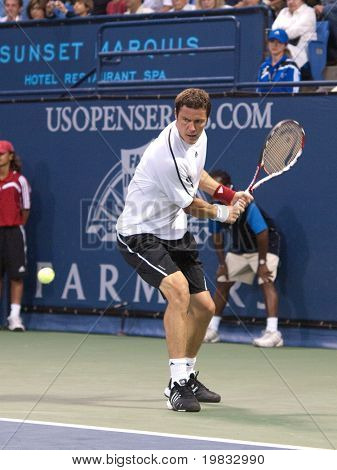 LOS ANGELES, CA. - JULY 27: Pete Sampras  and Marat Safin (picture) play an exhibition match at the L.A. Tennis Open July 27, 2009 in Los Angeles.