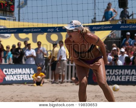 HERMOSA BEACH, CA. - AUGUST 8: Jen Kessy (pictured) and April Ross vs. Nicole Branagh and Elaine Youngs for the womens final of the AVP Hermosa Beach Open. August 8, 2009 in Hermosa Beach.