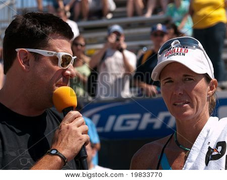 HERMOSA BEACH, CA. - AUGUST 8: Elaine Youngsbeing interviewed after the womens final of the AVP Hermosa Beach Open. August 8, 2009 in Hermosa Beach.