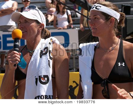 HERMOSA BEACH, CA. - AUGUST 8: Nicole Branagh (R) and Elaine Youngs (L) after winning the womens final of the AVP Hermosa Beach Open. August 8, 2009 in Hermosa Beach.