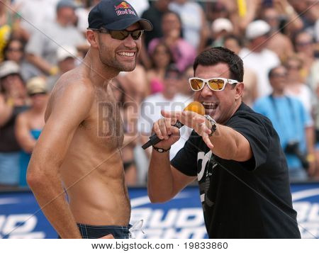 HERMOSA BEACH, CA. - AUGUST 9: Phil Dalhausser being interviewed by Chris