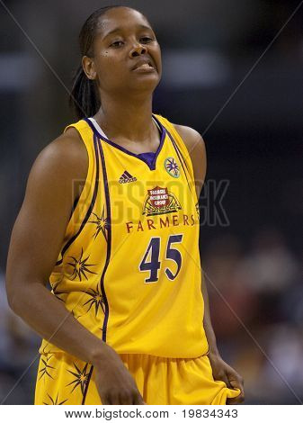 LOS ANGELES, CA. - SEPTEMBER 16: Noelle Quinn during a break in play of the WNBA playoff game of the Sparks vs. Storm on September 16, 2009 in Los Angeles.