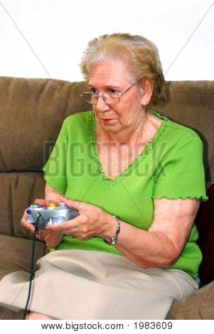 Grandmother Playing Video Game