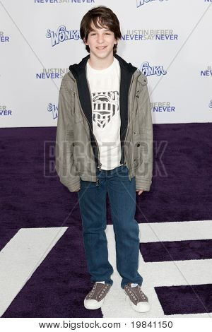 LOS ANGELES, CA - FEB 8: Actor Zachary Gordon arrives at the Paramount Pictures Justin Bieber: Never Say Never premiere at Nokia Theater L.A. Live on February 8, 2011 in Los Angeles, California.