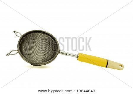 Small Hand Strainer On White