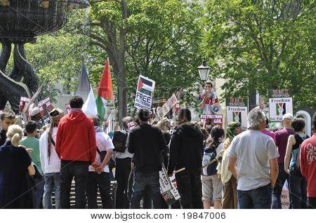 BRIGHTON, UK-JUNE 6: Pro-Palestinian and Gaza strip demonstration, June 6, 2010 in Brighton, United Kingdom