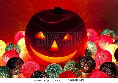 Scary Halloween pumpkin lantern
