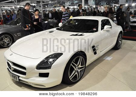 LONDON, UK - NOVEMBER 7: A Mercedes SLS AMG at the MPH motorshow, November 7, 2010 in London, United Kingdom