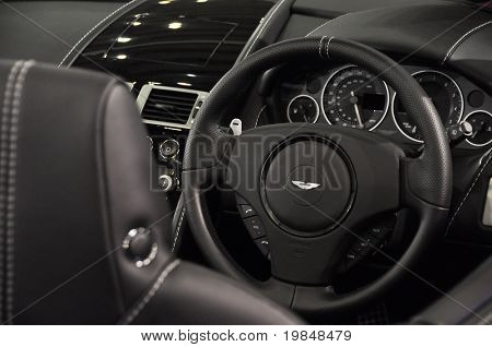 LONDON, UK - NOVEMBER 7: Interior of an Aston Martin DB9 Volante at the MPH motorshow, November 7, 2010 in London, United Kingdom