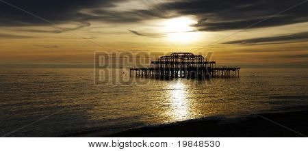 The West Pier in Brighton at sunset, UK