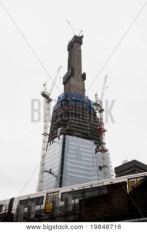 LONDON, UK - JANUARY 10: The Shard London Bridge tower under construction, due to completion in 2012, January 10, 2011 in London, United Kingdom