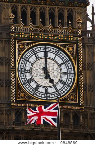 The Union Jack and Big Ben, London, United Kingdom
