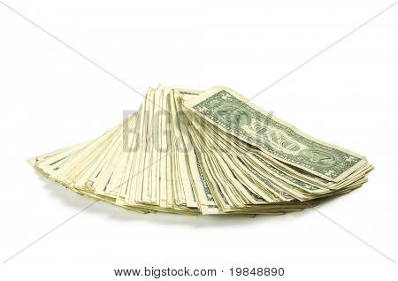 One dollar banknotes on a white background