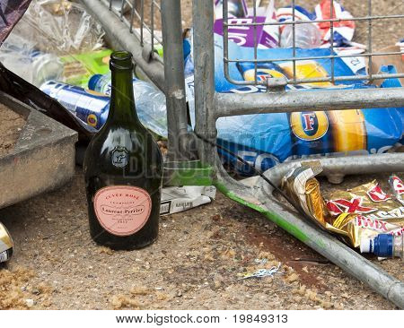 LONDON, UK - APRIL 29: Garbage left behind after the party on the mall at Prince William and Kate Middleton wedding, April 29, 2011 in London, United Kingdom
