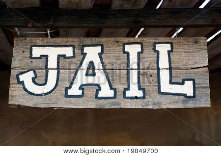 Een ouderwetse westerse gevangenis teken