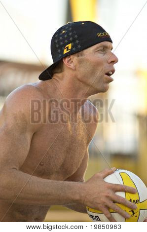 GLENDALE, AZ - SEPTEMBER 26: AVP pro Casey Jennings, husband of Olympic gold medalist Kerri Walsh, competes at the AVP Best of the Beach volleyball tournament in Glendale, Arizona.