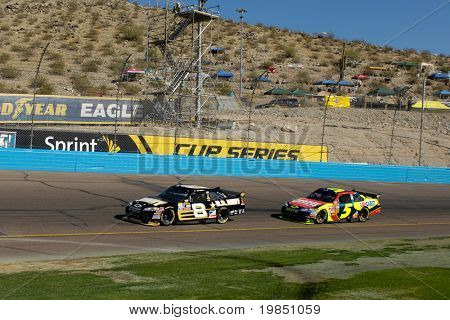 AVONDALE, AZ - NOV 7 - Mark Martin (8) and Casey Mears (5) compete in the NASCAR Sprint Cup Series at the Phoenix International Raceway on November 7, 2008 in Avondale, Arizona.