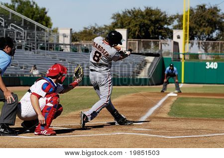 MESA, AZ - NOV 20: Kevin Frandsen of  the Scottsdale Scorpions at bat with Mesa Solar Sox catcher Lou Marson behind the plate, in an Arizona Fall League game on November 20, 2008 in in Mesa, Arizona.