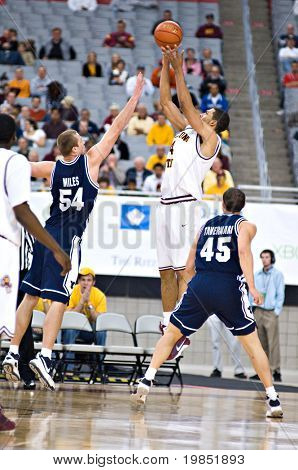 GLENDALE, AZ - DECEMBER 20: Jeff Pendergraph #4 of Arizona State Univerity shoots over Chris Miles #54 of Brigham Young University in the basketball game on December 20, 2008 in Glendale, Arizona.