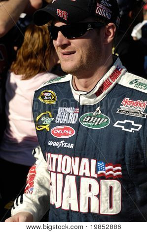 AVONDALE, AZ - APRIL 18 Dale Earnhardt Jr. #88 is introduced before the start of the NASCAR Sprint Cup race at the Phoenix International Raceway on April 18, 2009 in Avondale, AZ.
