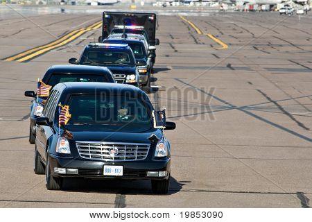 PHOENIX, AZ - MAY 13: President Barack Obama's limousine arrives at Phoenix Sky Harbor Airport on May 13, 2009 in Phoenix, AZ.