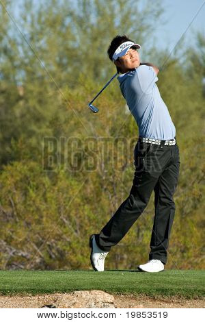 SCOTTSDALE, AZ - OCTOBER 22: Ryuji Imada hits a drive in the Frys.com Open PGA golf tournament on October 22, 2009 in Scottsdale, Arizona.