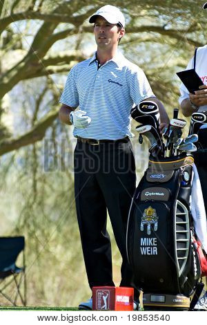 SCOTTSDALE, AZ - OCTOBER 22: Mike Weir prepares to tee off in the Frys.com Open PGA golf tournament on October 22, 2009 in Scottsdale, Arizona.