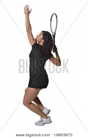 A pretty, athletic female tennis player isolated on a white background.