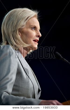 MESA, AZ - MARCH 27: Cindy McCain addresses voters at a re-election rally in support of her husband, Arizona Republican Senator John McCain on March 27, 2010 in Mesa, AZ.