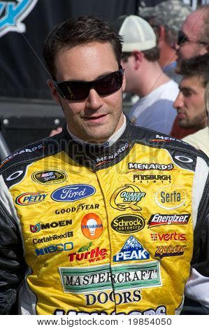 AVONDALE, AZ - APRIL 10: NASCAR driver Paul Menard makes an appearance before the start of the Subway Fresh Fit 600 on April 10, 2010 in Avondale, AZ.