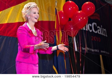 PHOENIX, AZ - NOVEMBER 2: Cindy McCain, wife of Senator John McCain, celebrates her husband's victory in his 2010 Senate campaign on November 2, 2010 in Phoenix, Arizona.